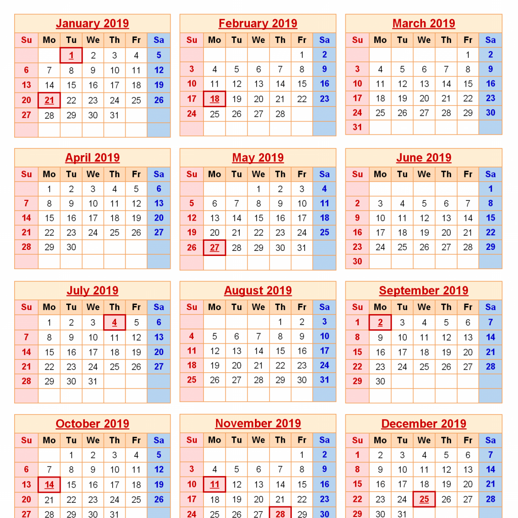 Calendar For Year 2019 Us With Get Free Federal Holidays Printable USA UK Canada