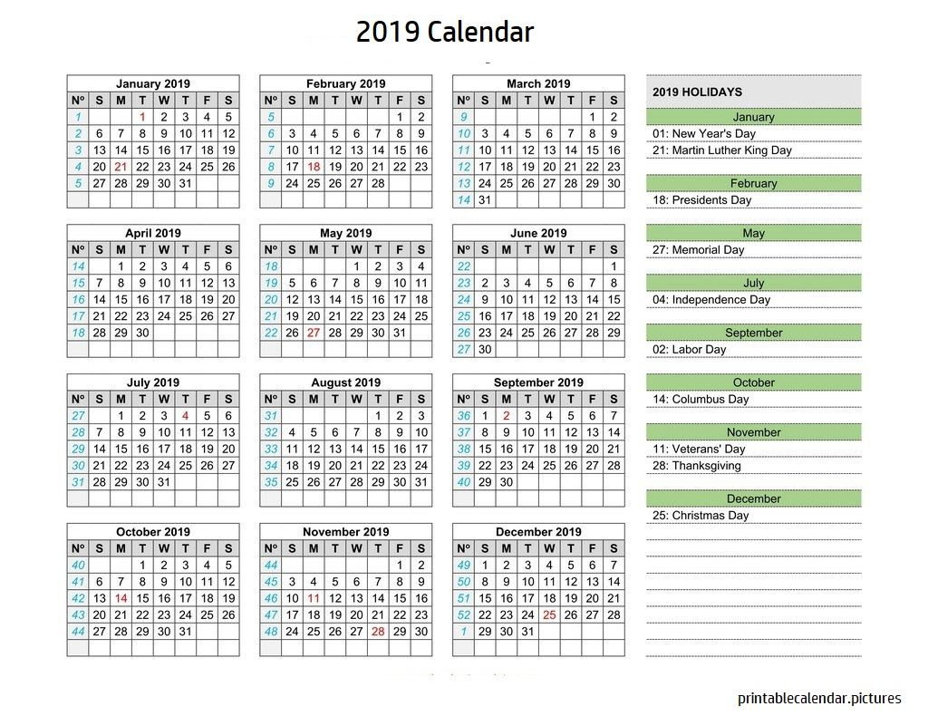 Calendar For Year 2019 Us With Holidays Pinterest