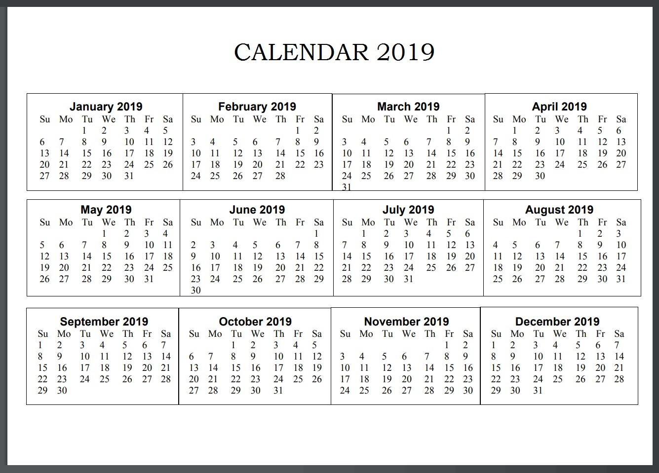Calendar For Year 2019 Us With Printable Holidays