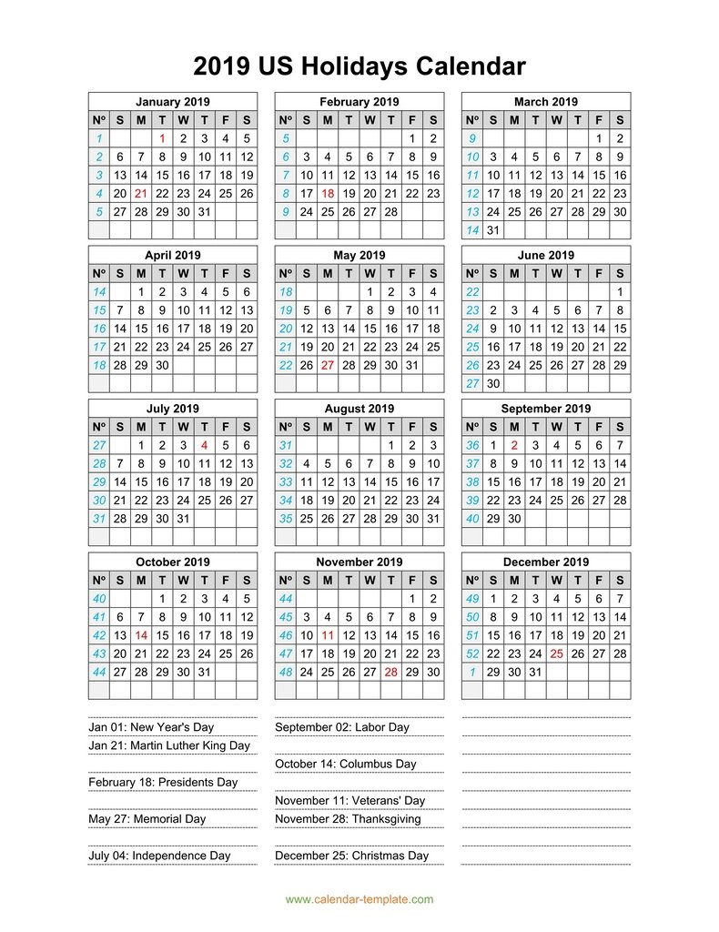 Calendar For Year 2019 Us With US Holidays