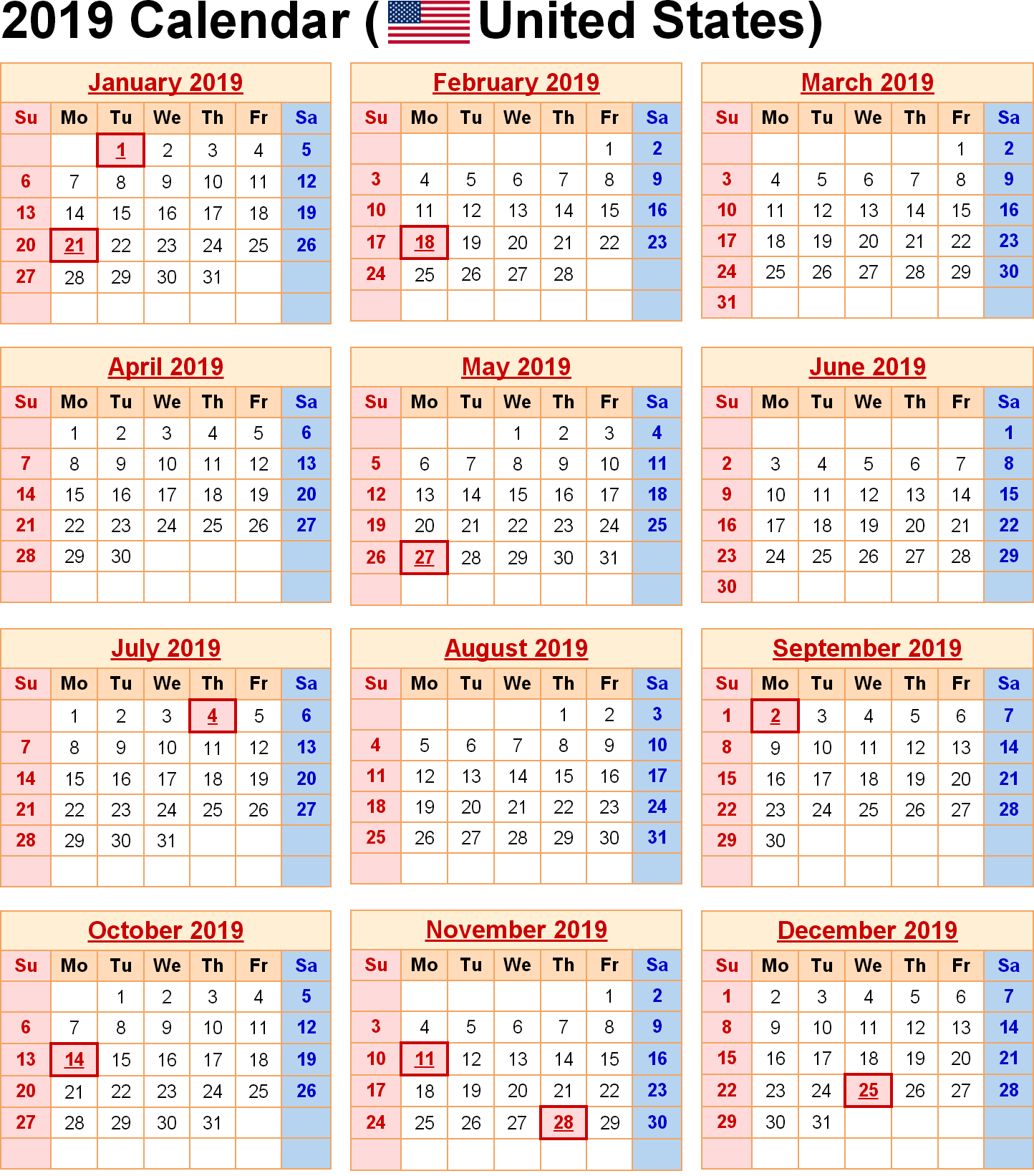 Calendar For Year 2019 Us With USA Free Printable 2018 Template Word