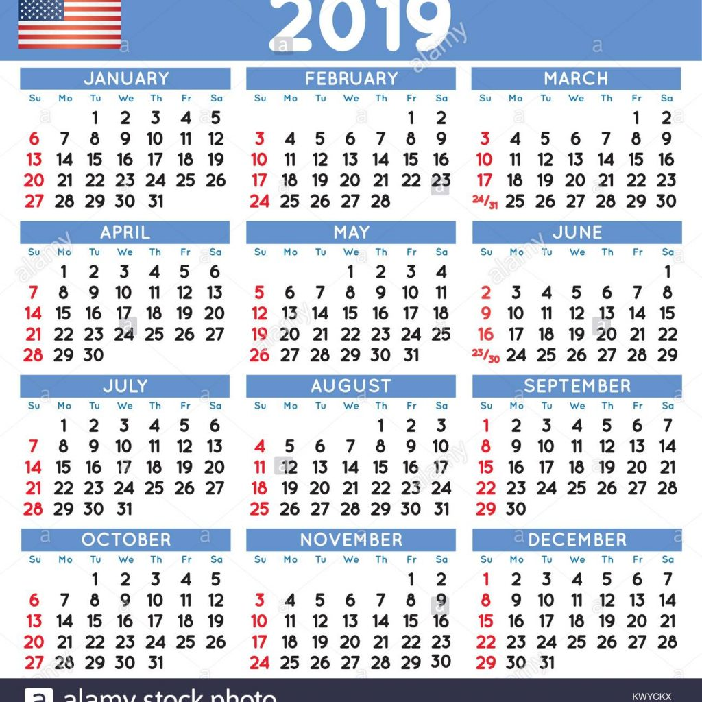 Calendar For Year 2019 Us With Vector Vectors Stock Photos