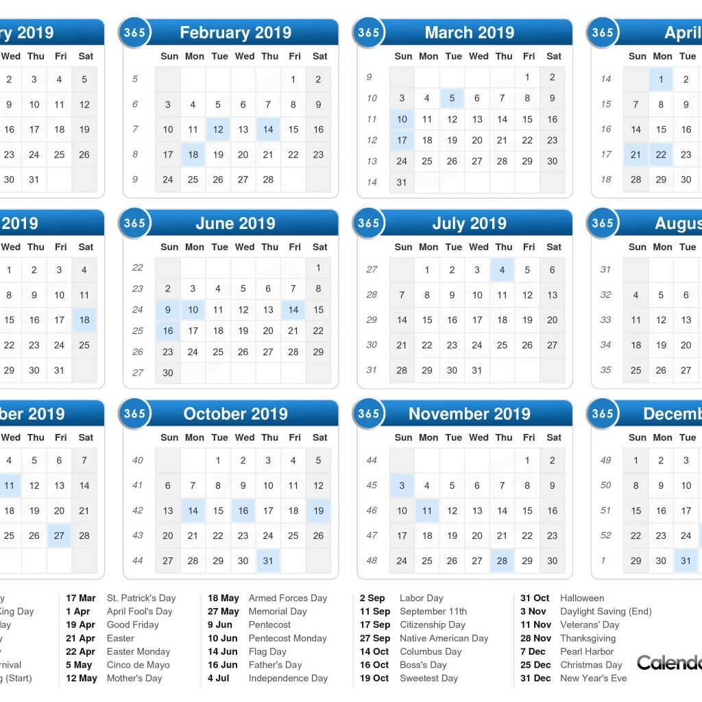 Calendar Of Year 2019 With