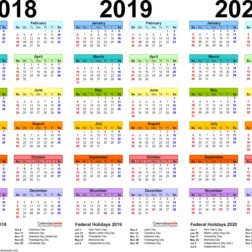 Calendar Of Year 2019 With 2018 2020 4 Three Printable PDF Calendars