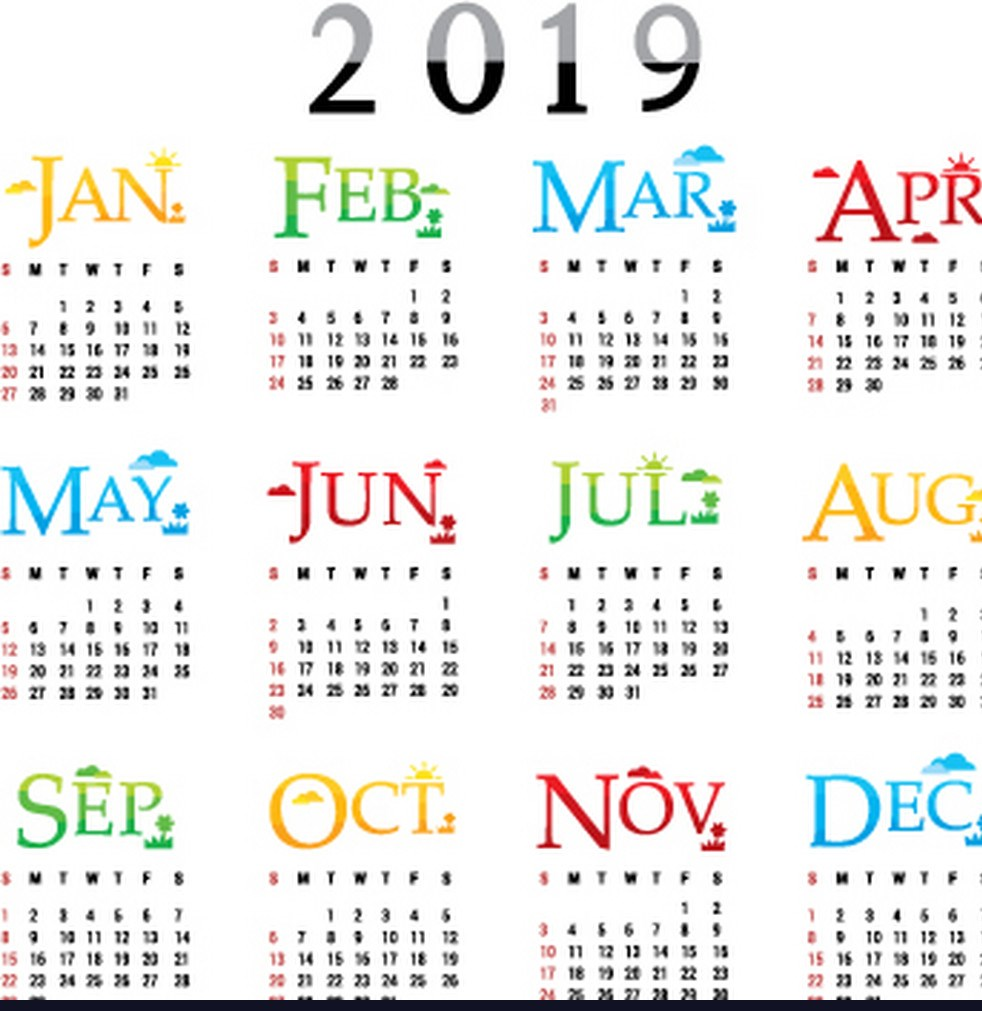 Calendar Of Year 2019 With Free Printable Template One Page Download August