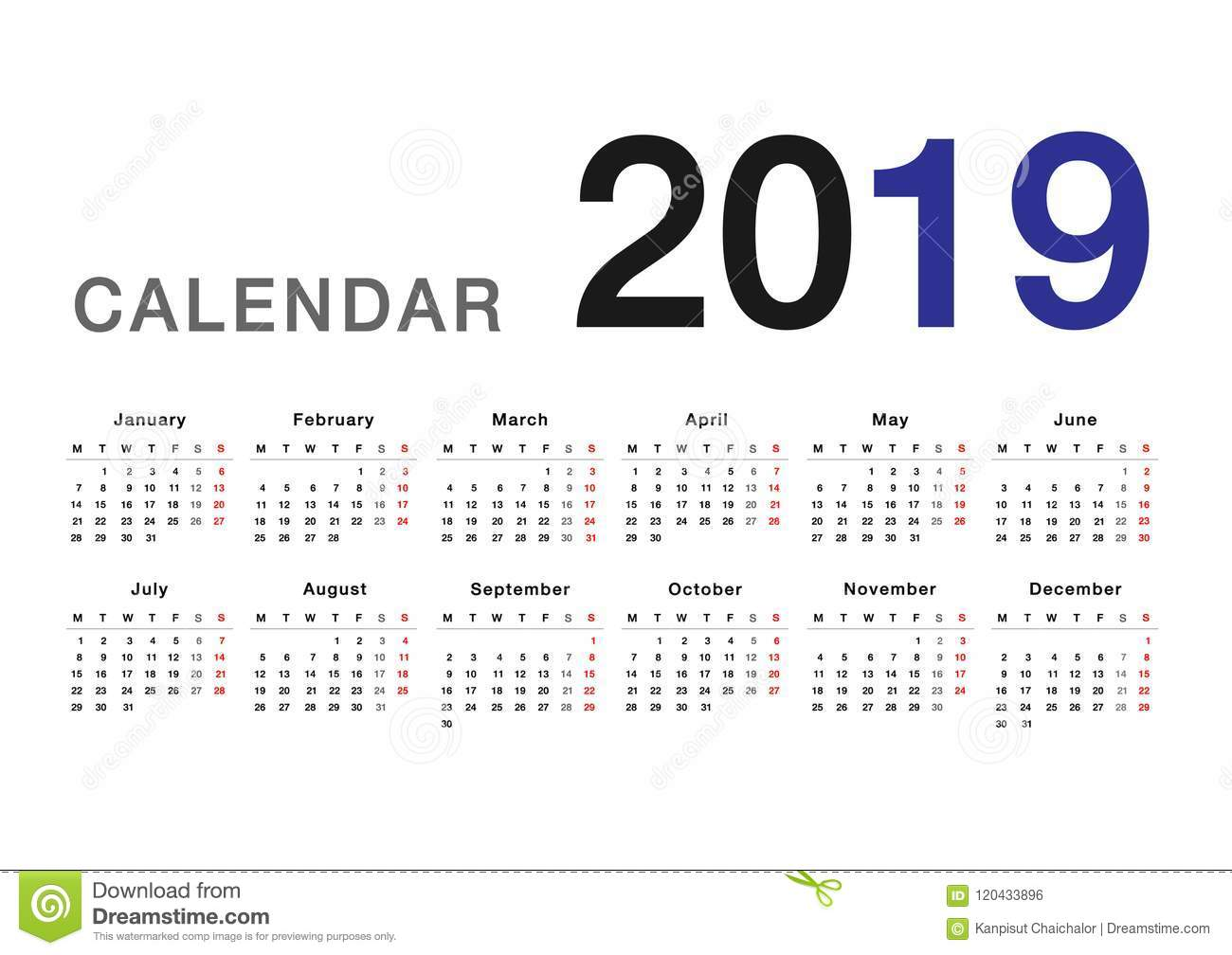 Calendar Of Year 2019 With Horizontal Vector Design Template Stock