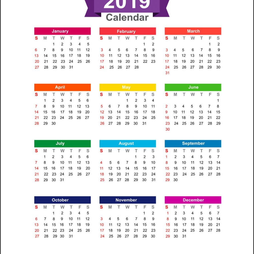 Calendar Of Year 2019 With Isolated On White Background Vector Image