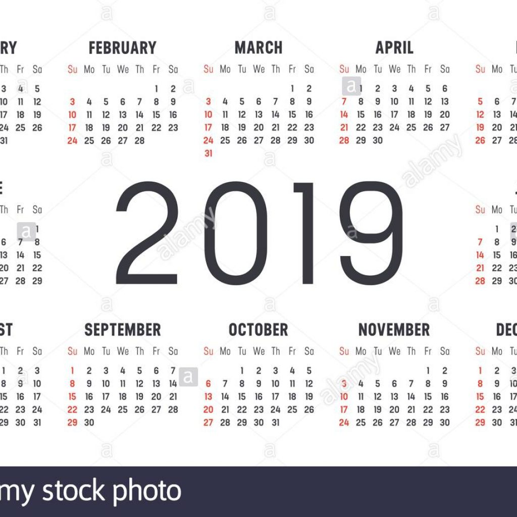 Calendar Of Year 2019 With Minimalist Black And Red On White Background