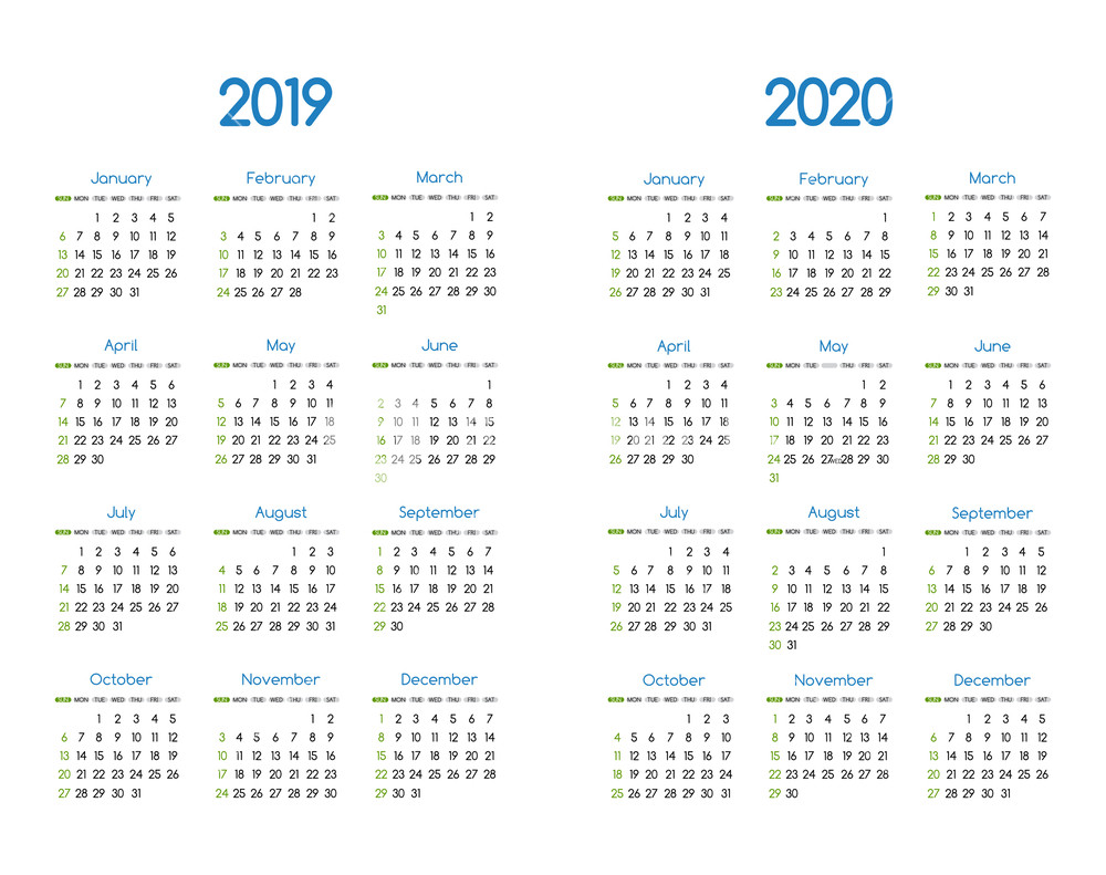 Calendar Of Year 2019 With New And 2020 Vector Modern Simple Design
