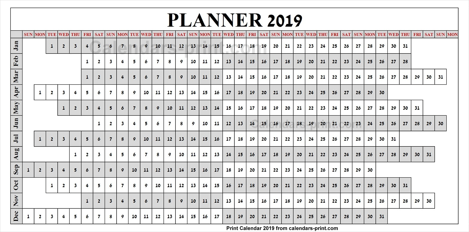 Calendar Of Year 2019 With To Print Free Download Blank PDF Template