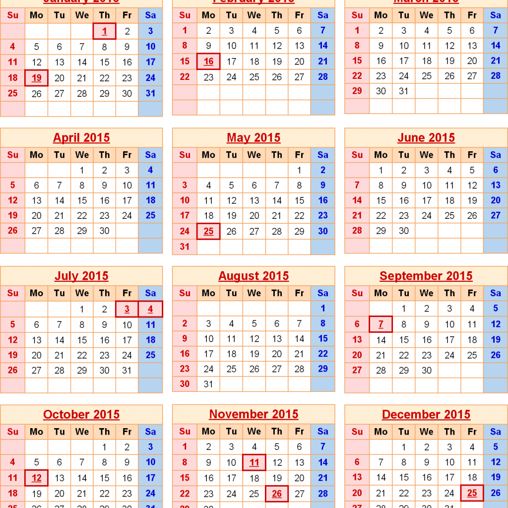 Calendar Year 2019 Federal Holidays With 2015 Calendars Excel PDF Magnificent