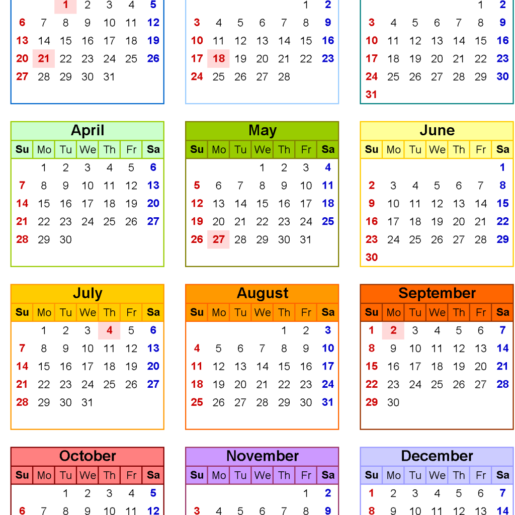 Calendar Year 2019 Federal Holidays With Free Printable Template USA