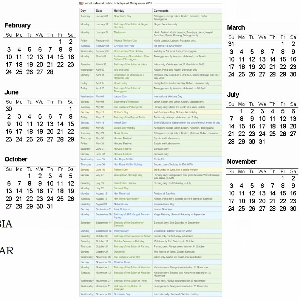 Calendar Year 2019 Federal Holidays With Free Public Holiday Malaysia Templates 2018
