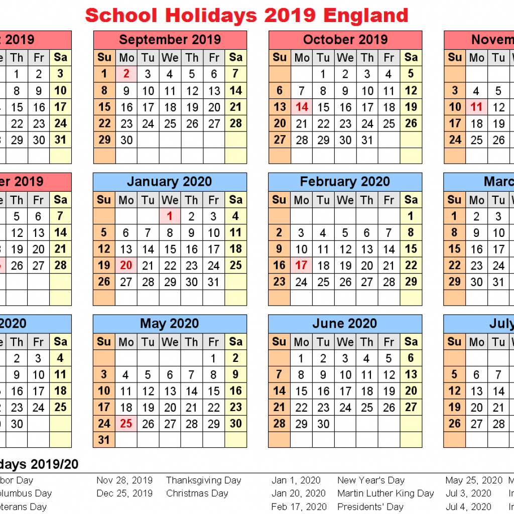 Calendar Year 2019 Federal Holidays With School England Download Template December