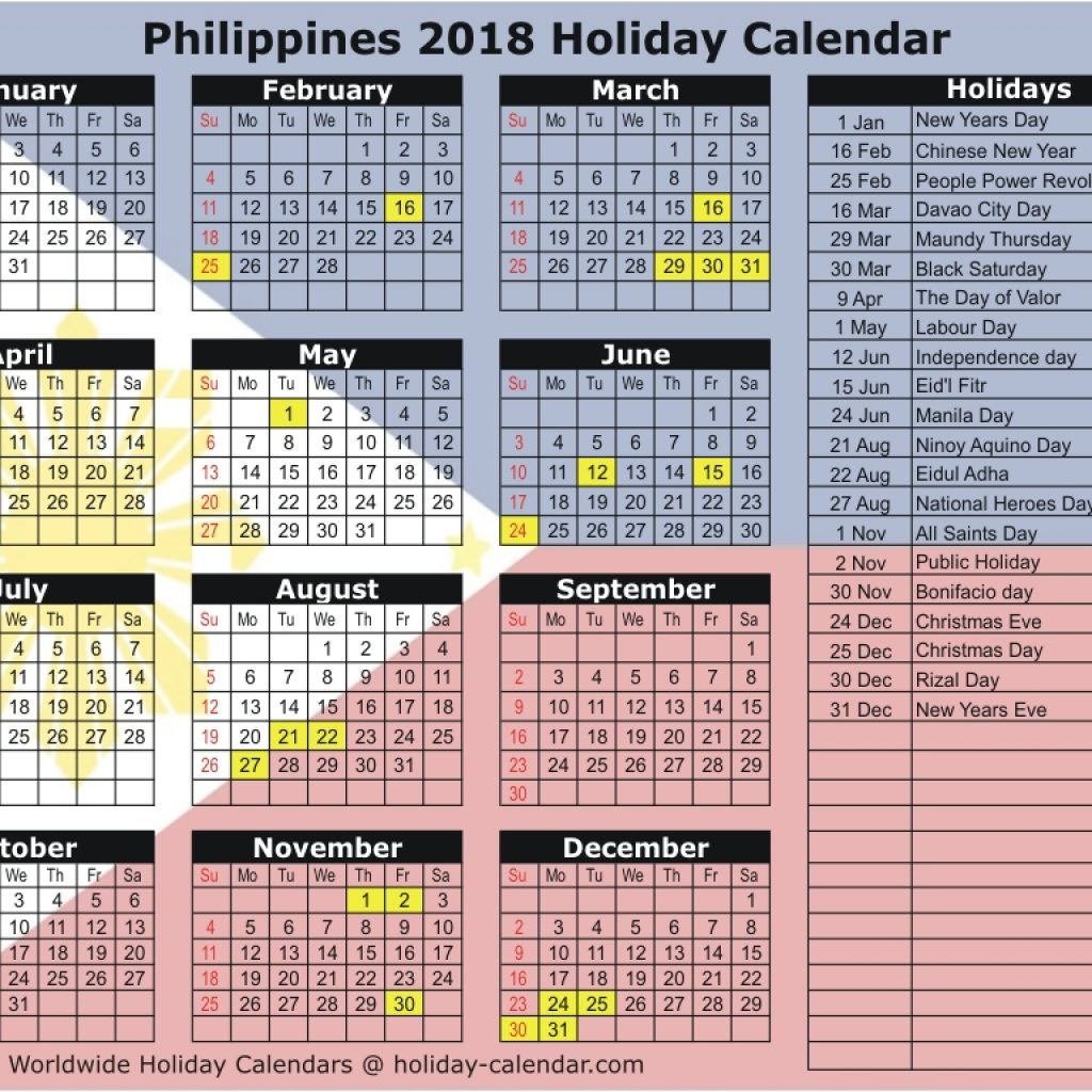 Calendar Year 2019 Philippines With 2018 Holiday