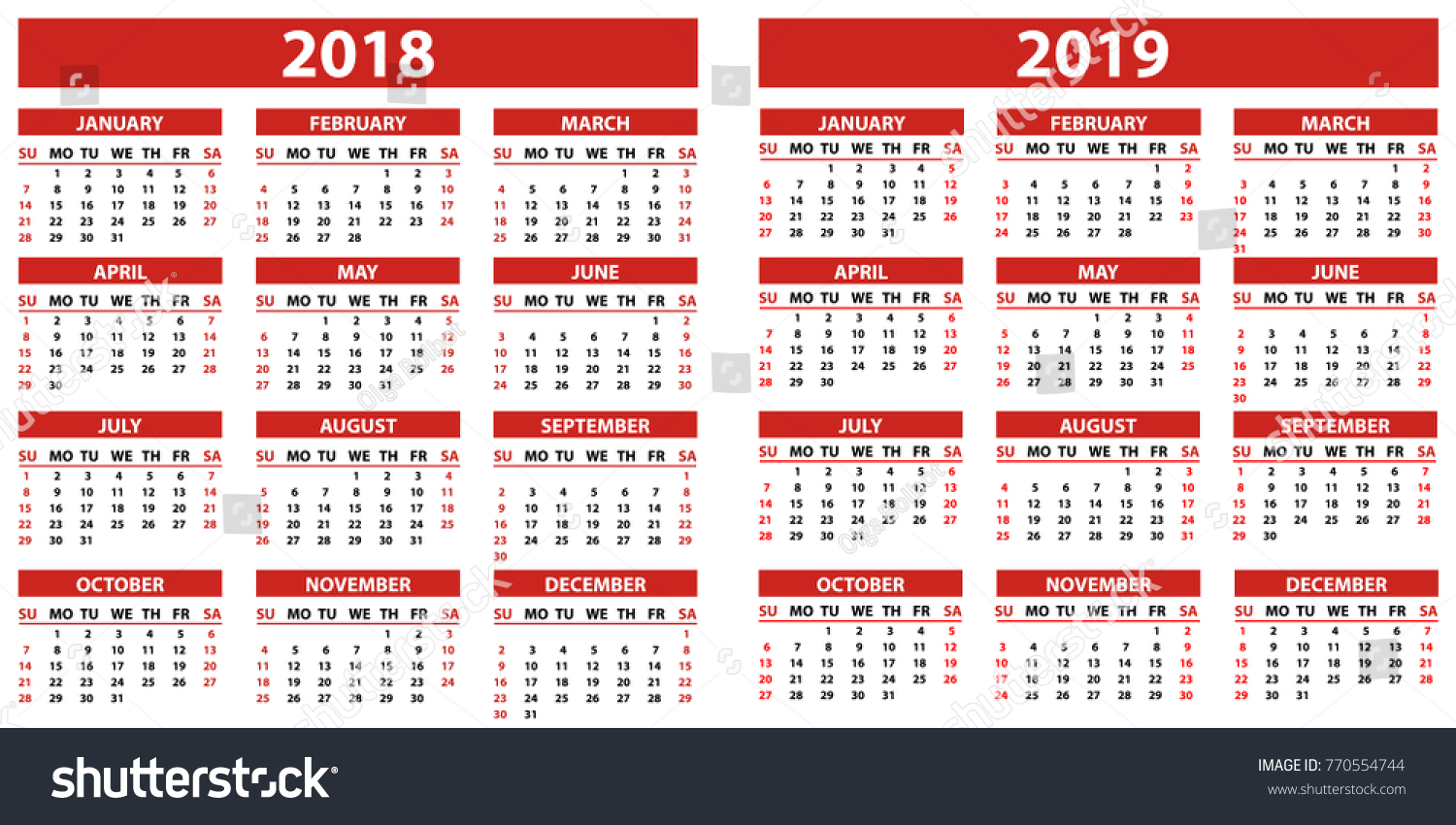 Calendar Year 2019 Philippines With 2018 Years Simple Style Stock Vector Royalty Free