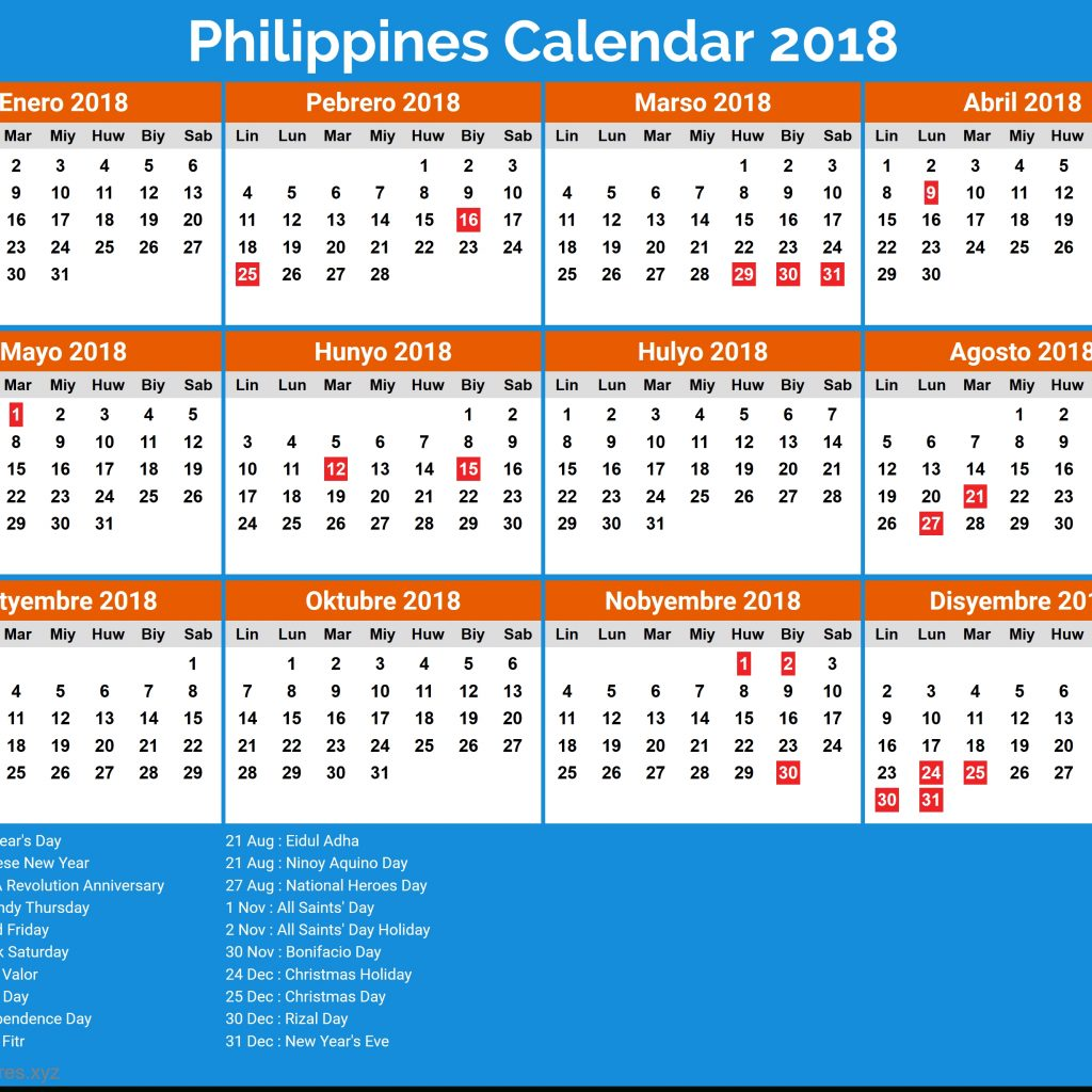 Calendar Year 2019 Philippines With April Format Example