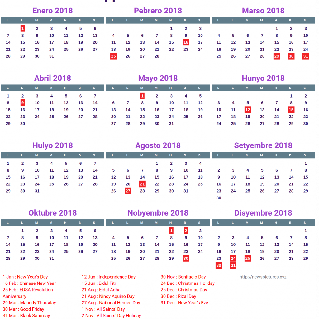 Calendar Year 2019 Philippines With Kalendaryo 2018 2 Printable