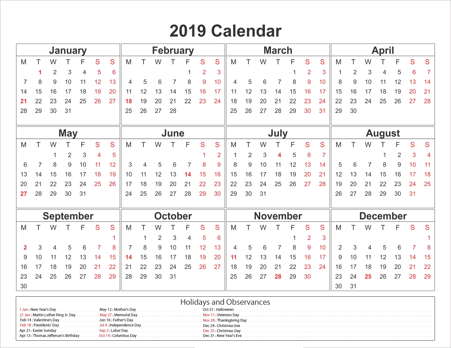 Calendar Year 2019 Philippines With March Holidays Format Example