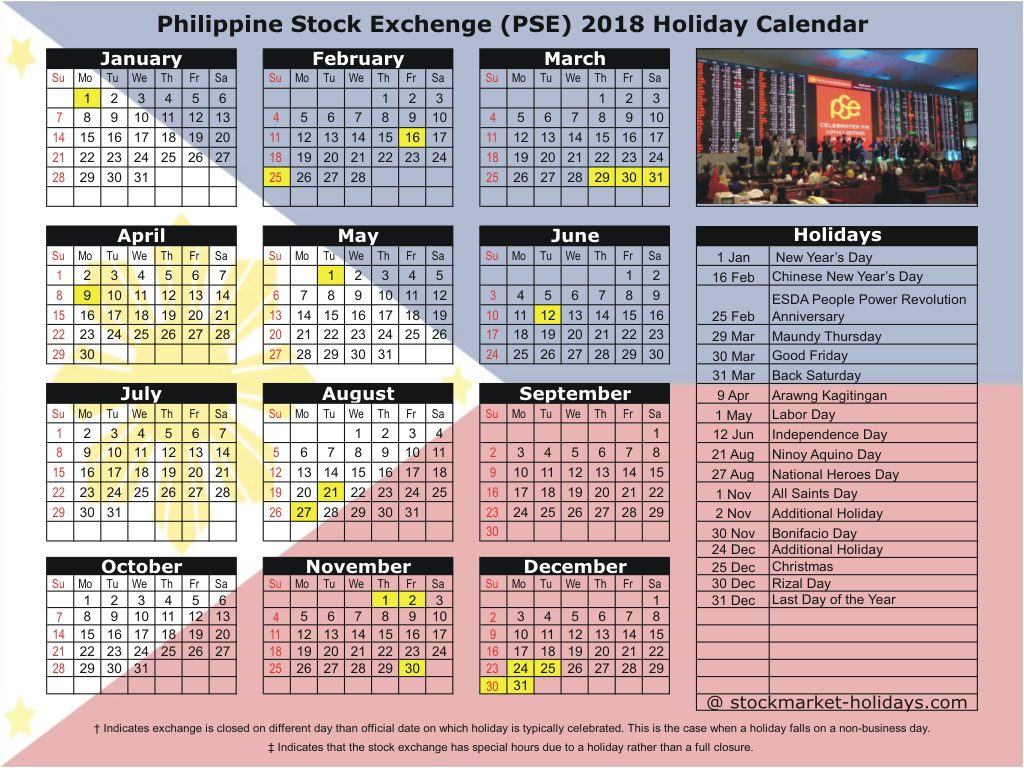 Calendar Year 2019 Philippines With Philippine Stock Exchange 2018 Holidays PSE