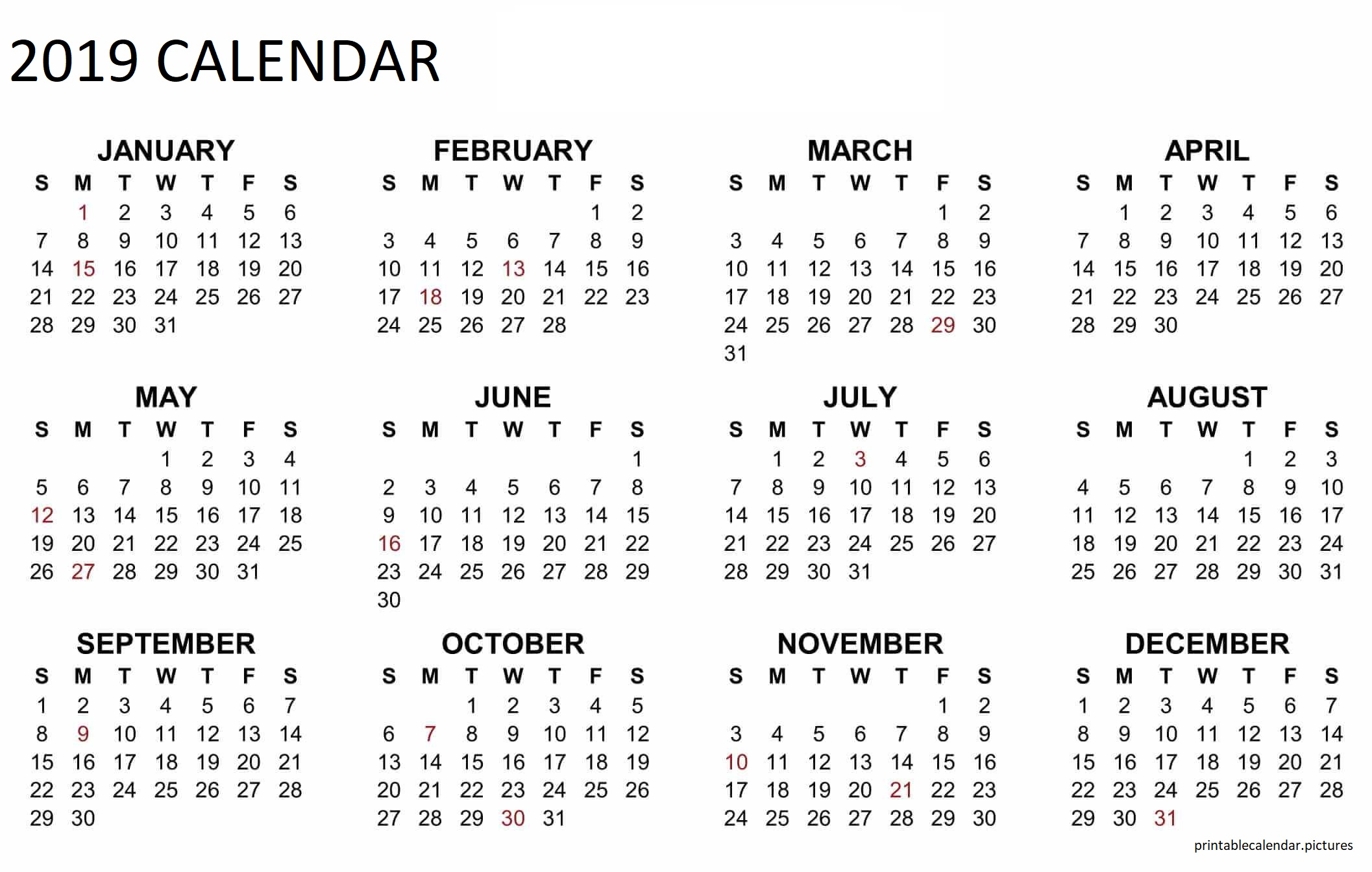 Calendar Year 2019 Philippines With Printable
