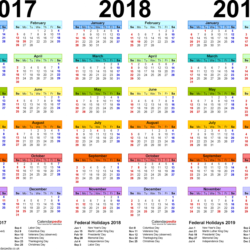 Calendar Year Same As 2019 With 2017 2018 4 Three Printable PDF Calendars
