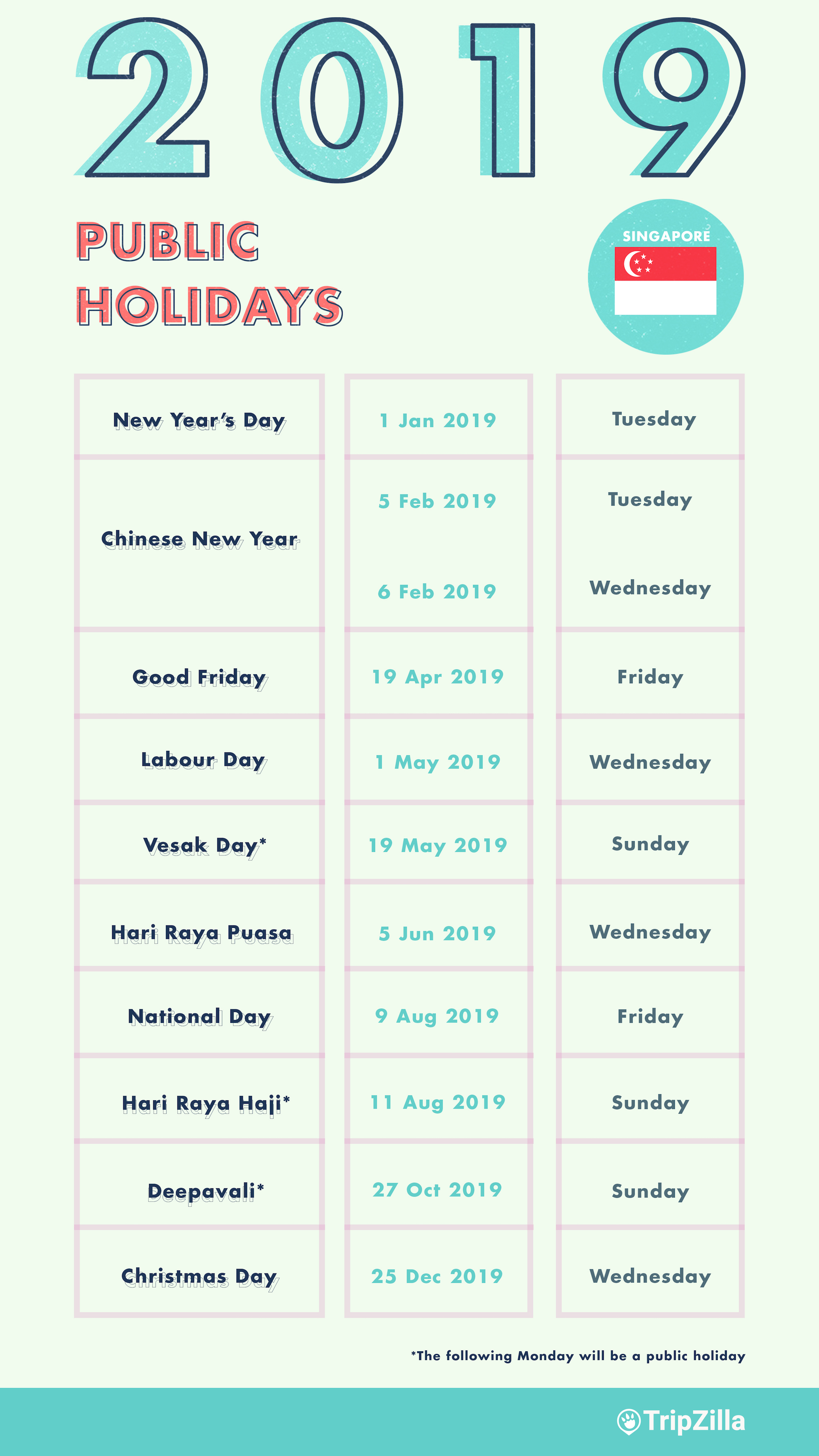 Calendar Year Same As 2019 With 6 Long Weekends In Singapore Bonus Cheatsheet