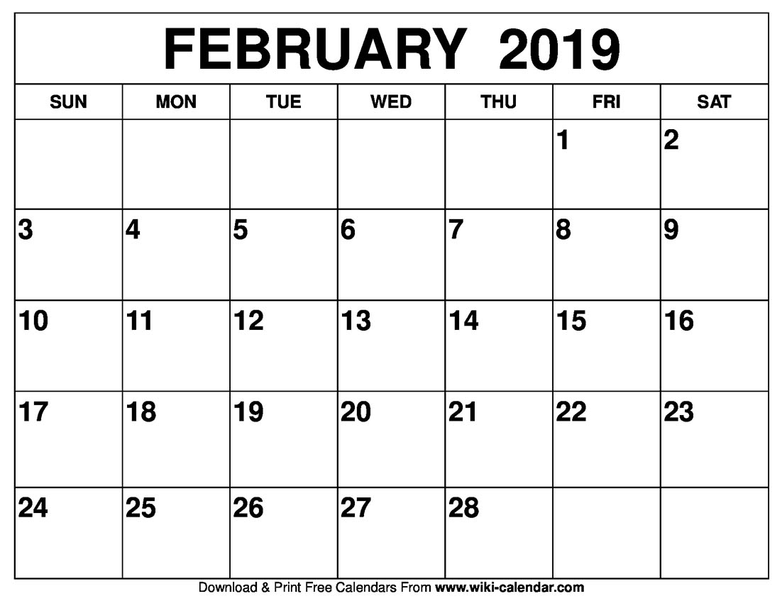 Calendar Year Same As 2019 With Blank February Printable