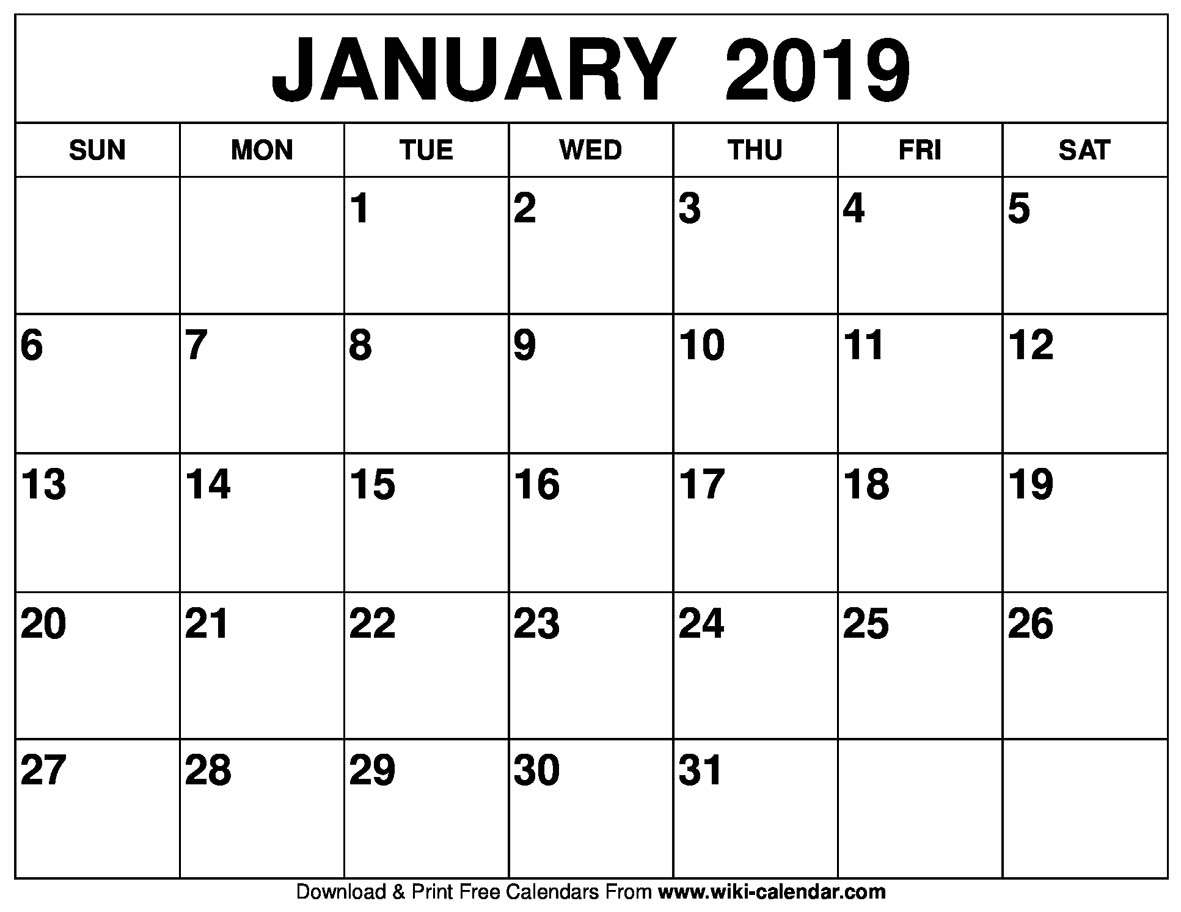 Calendar Year Same As 2019 With Blank January Printable