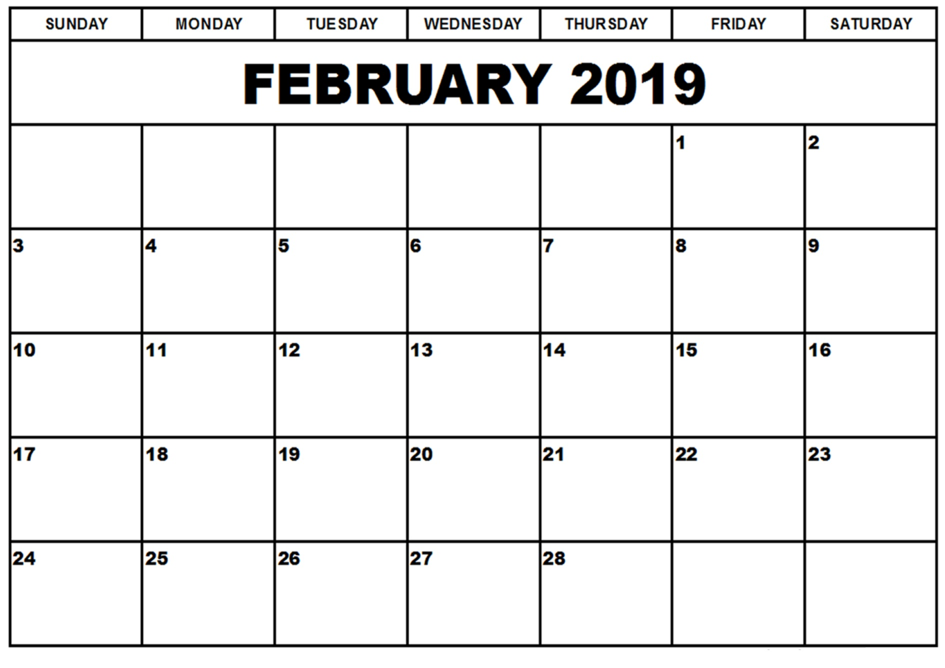 Calendar Year Same As 2019 With February Printable Templates This Site Provides