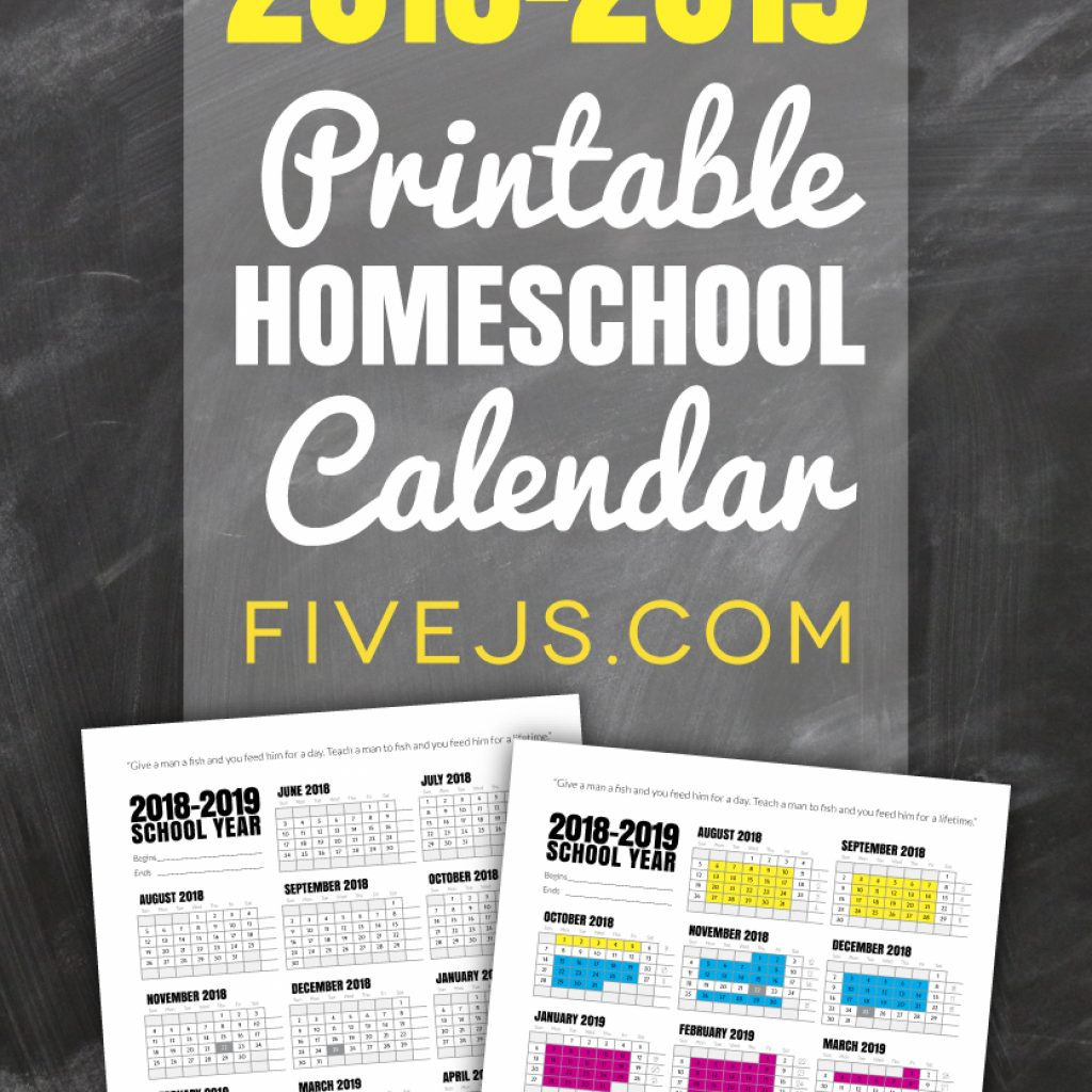 Calendar Year Same As 2019 With Free Printable School For 2018 Five J S Homeschool