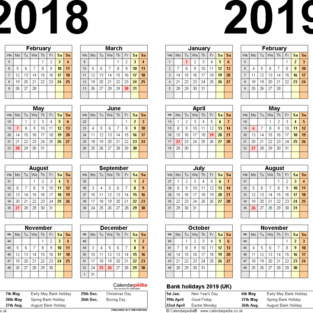 Calendar Year Same As 2019 With Two Calendars For 2018 UK PDF