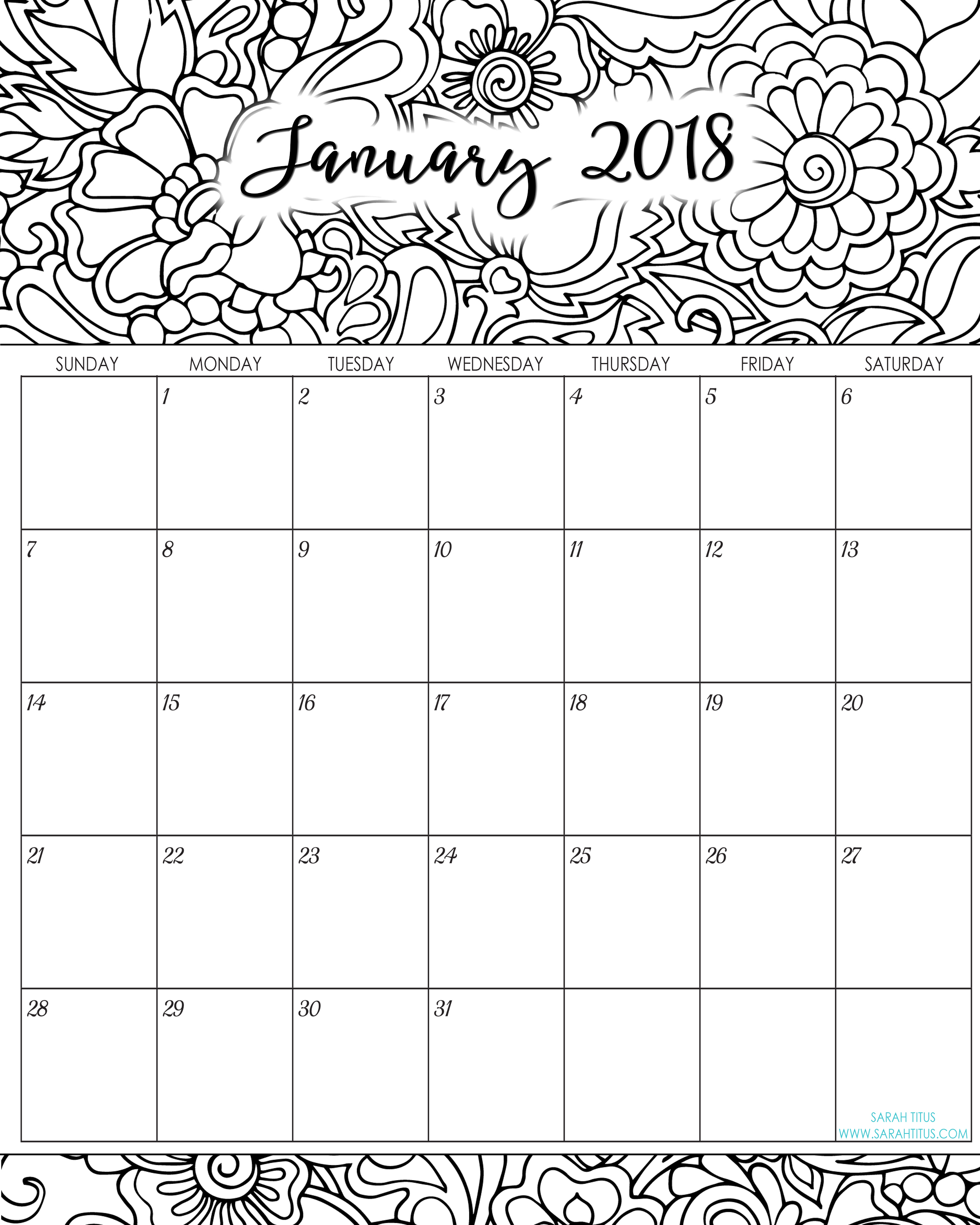 Calender 2019 Coloring With 2018 Monthly Calendars Printables Sarah Titus