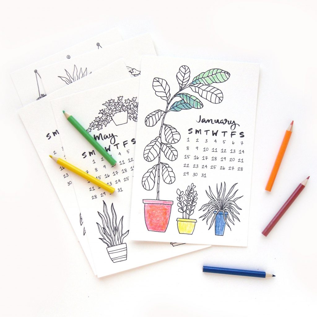 Calender 2019 Coloring With Desk Calendar Sketchy Notions