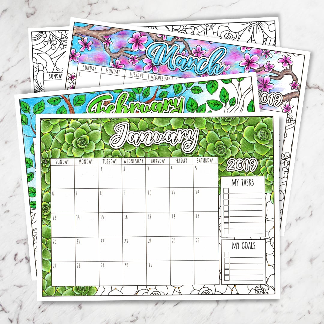Calender 2019 Coloring With Floral Calendar