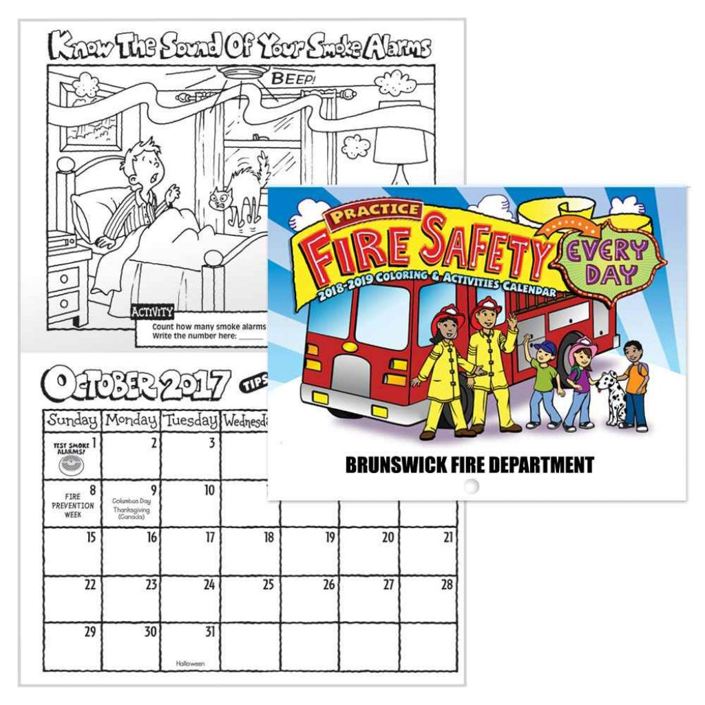 Calender 2019 Coloring With Practice Fire Safety Activities 2018 Calendar Personalization Available