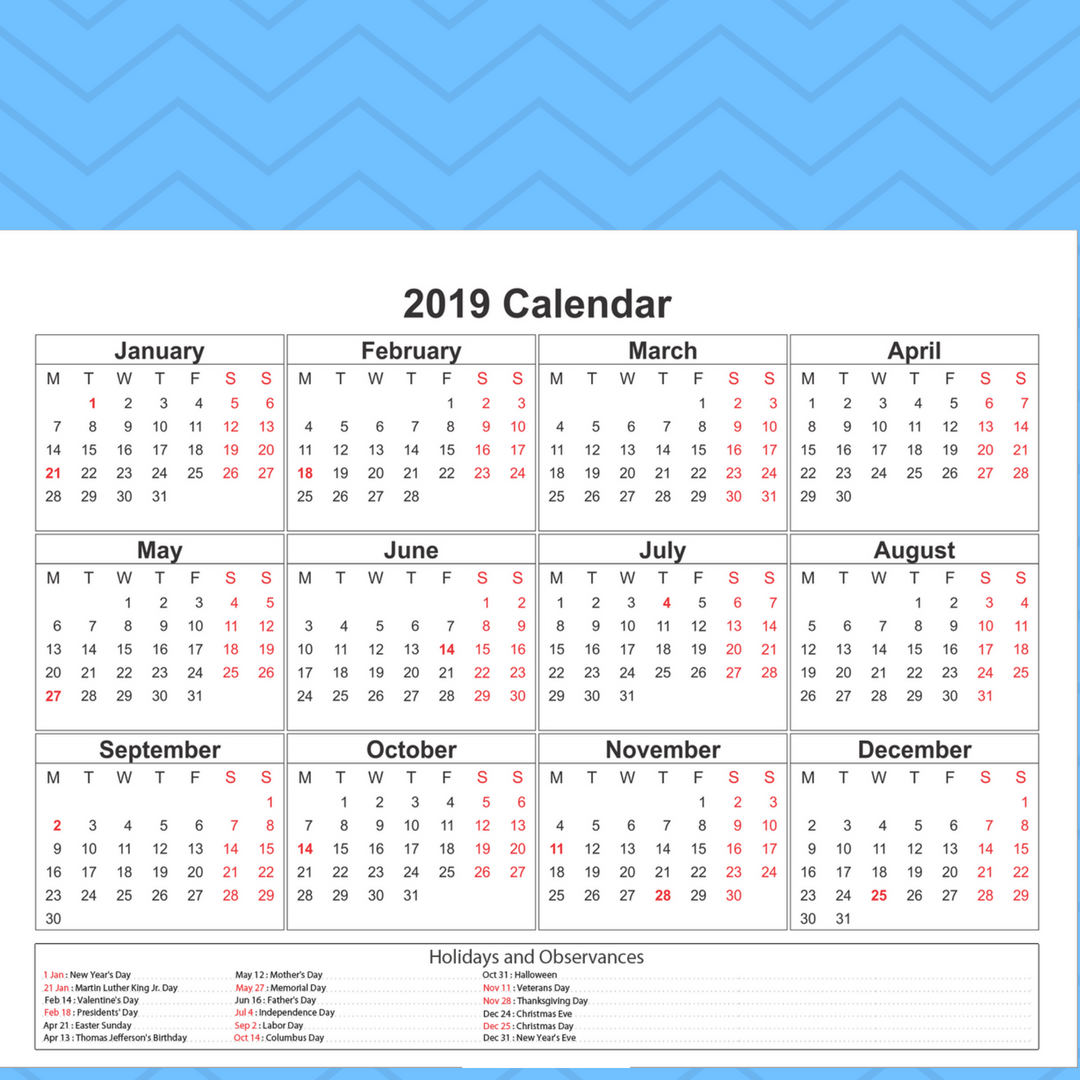 Catholic Calendar Year 2019 With Free Blank Printable Template Download