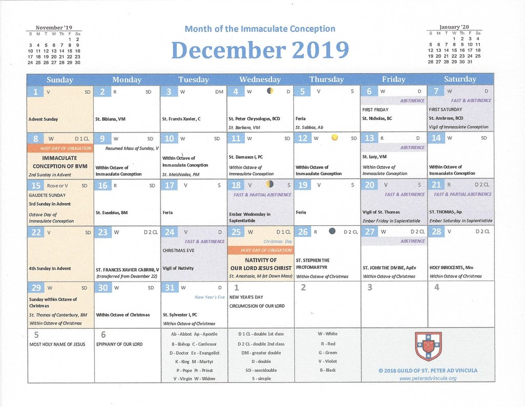 Catholic Calendar Year 2019 With Traditional Confraternity Books