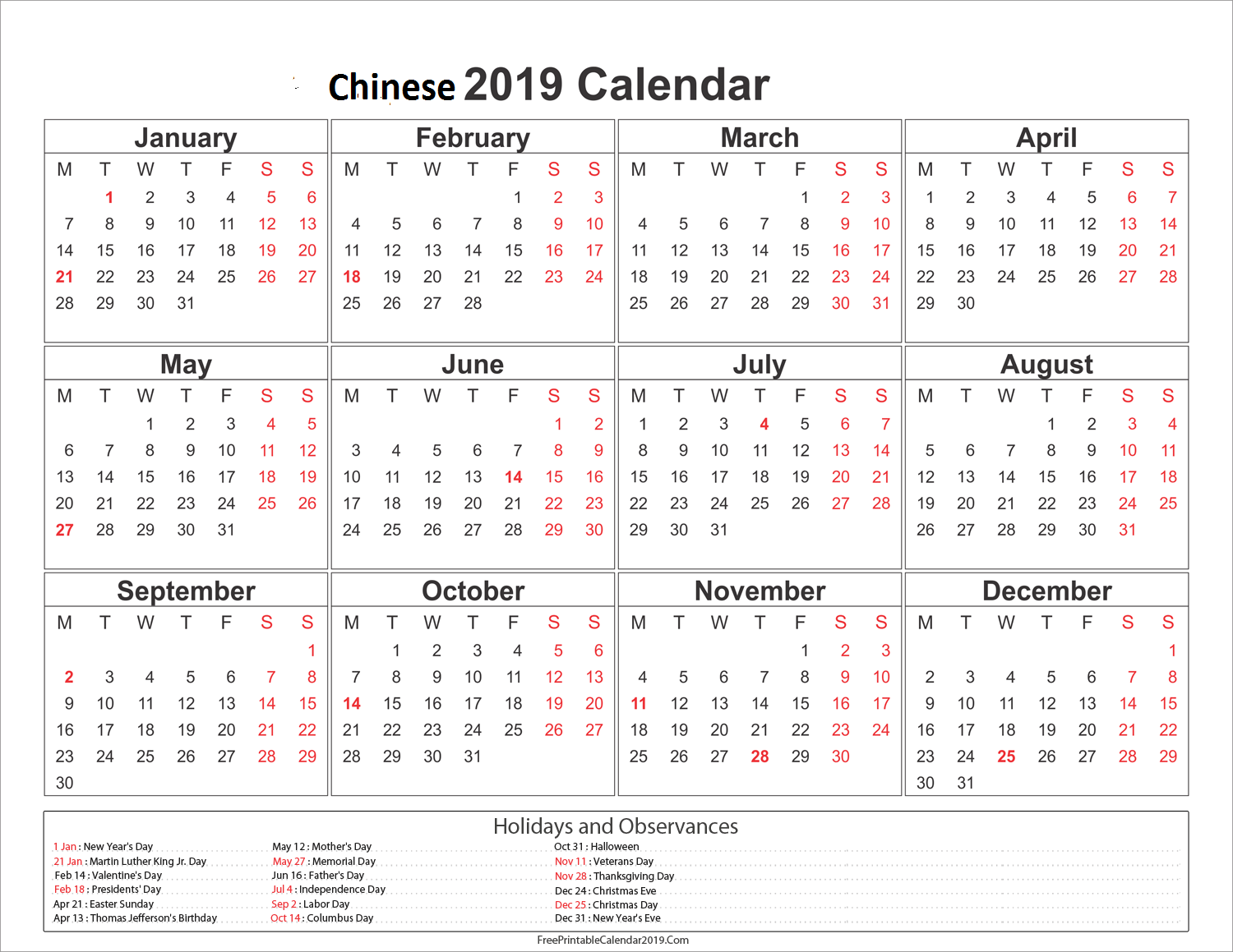 Chinese Calendar 2019 Year Of The With Blank Printable Holiday Templates
