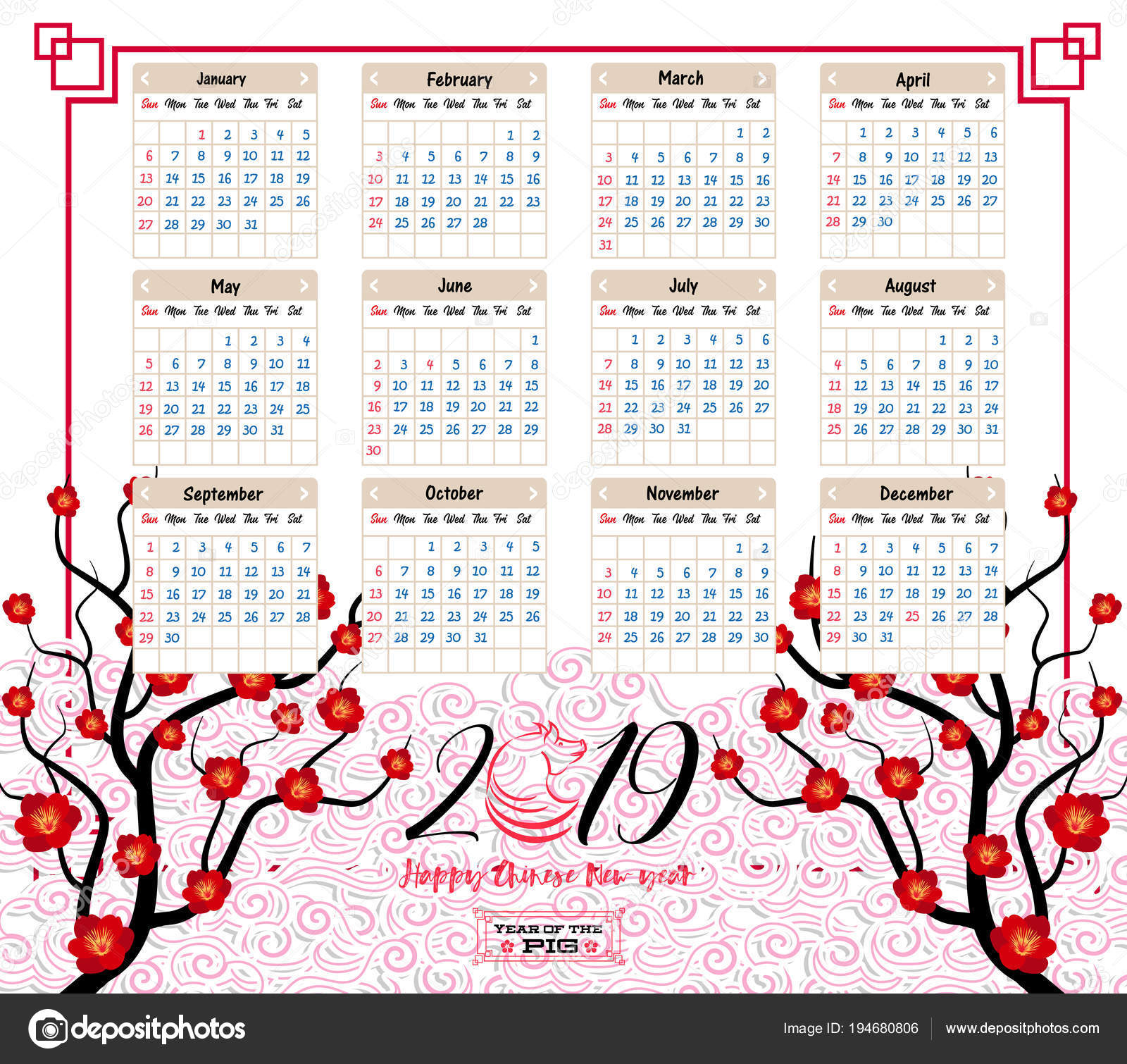 Chinese Calendar 2019 Year Of The With Happy New Pig Stock