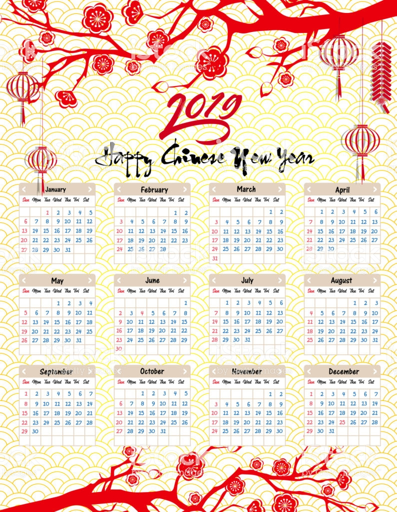 Chinese Lunar Year Calendar 2019 With For Happy New Of The