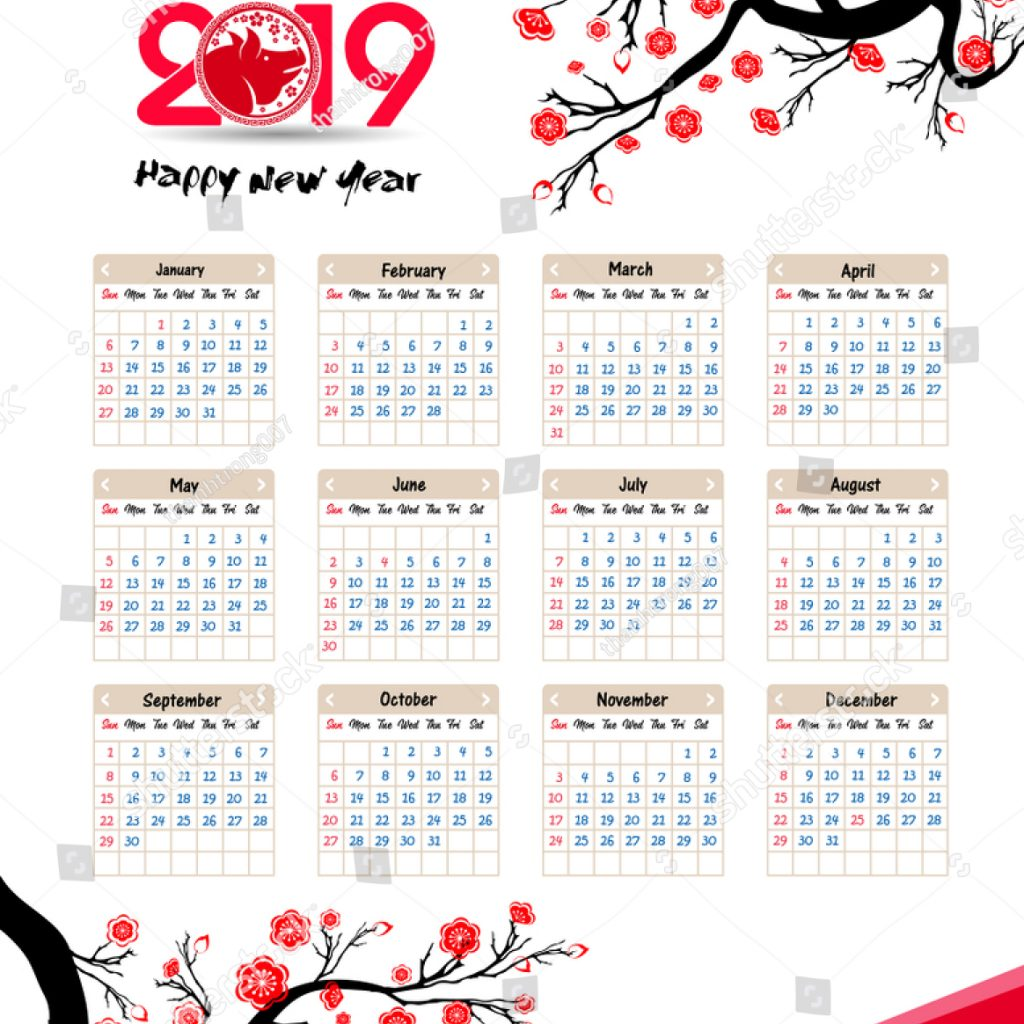Chinese Lunar Year Calendar 2019 With Happy New Stock Vector Royalty Free