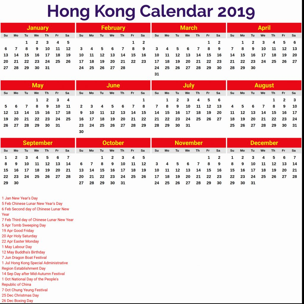 Chinese New Year 2019 Calendar Hong Kong With Public Holidays Government Hype Journey