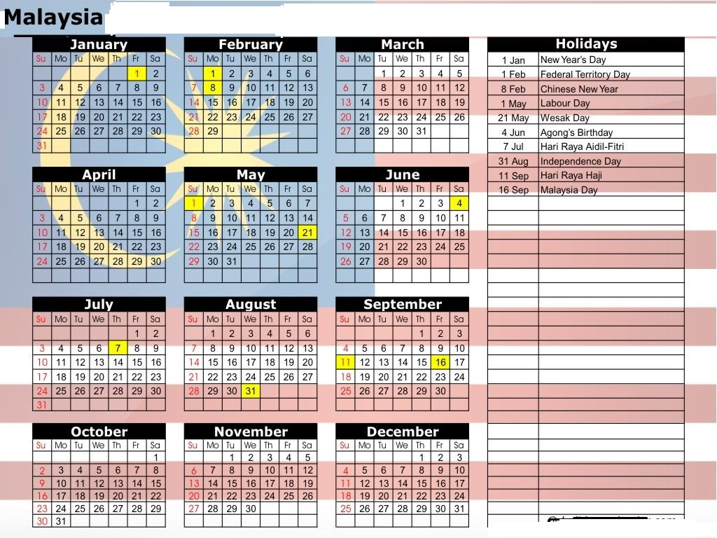 Chinese New Year 2019 Calendar Malaysia With Printable Yearly Holidays October 2018