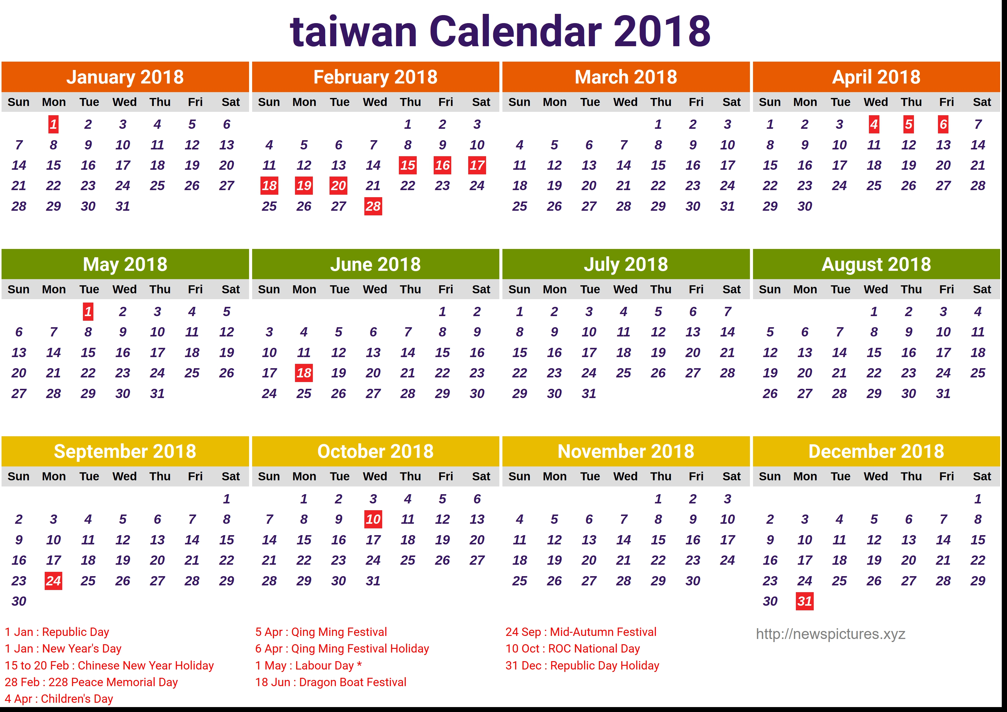 Chinese New Year 2019 Calendar Taiwan With 2018 Calender Printable Coloring Page For Kids