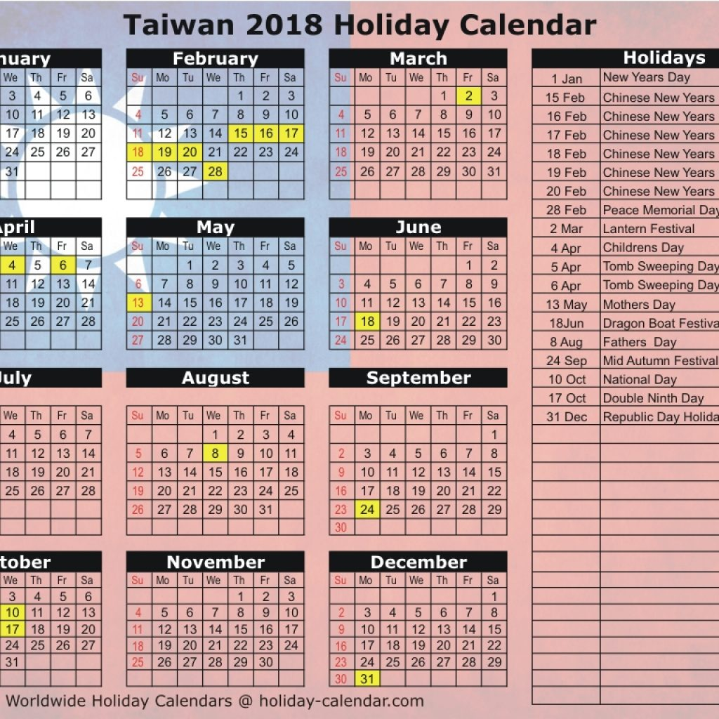 Chinese New Year 2019 Calendar Taiwan With 2018 Holiday