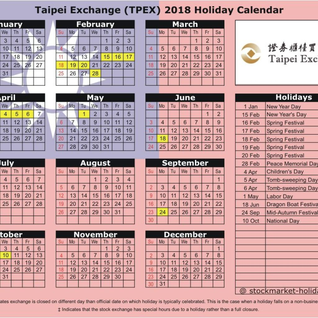 Chinese New Year 2019 Calendar Taiwan With Taipei Exchange 2018 Holidays TPEX