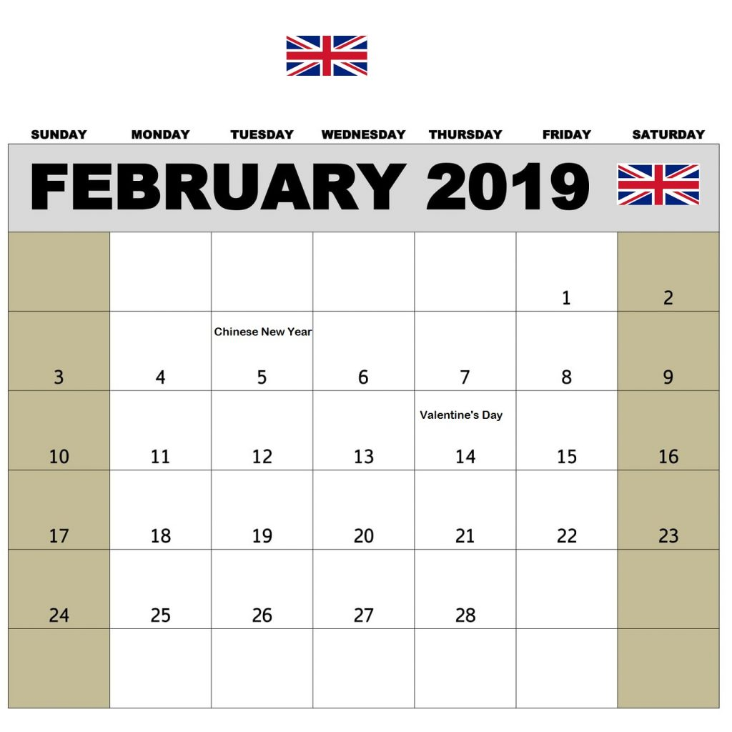 Chinese New Year 2019 Calendar With February PDF Excel Word Free Download