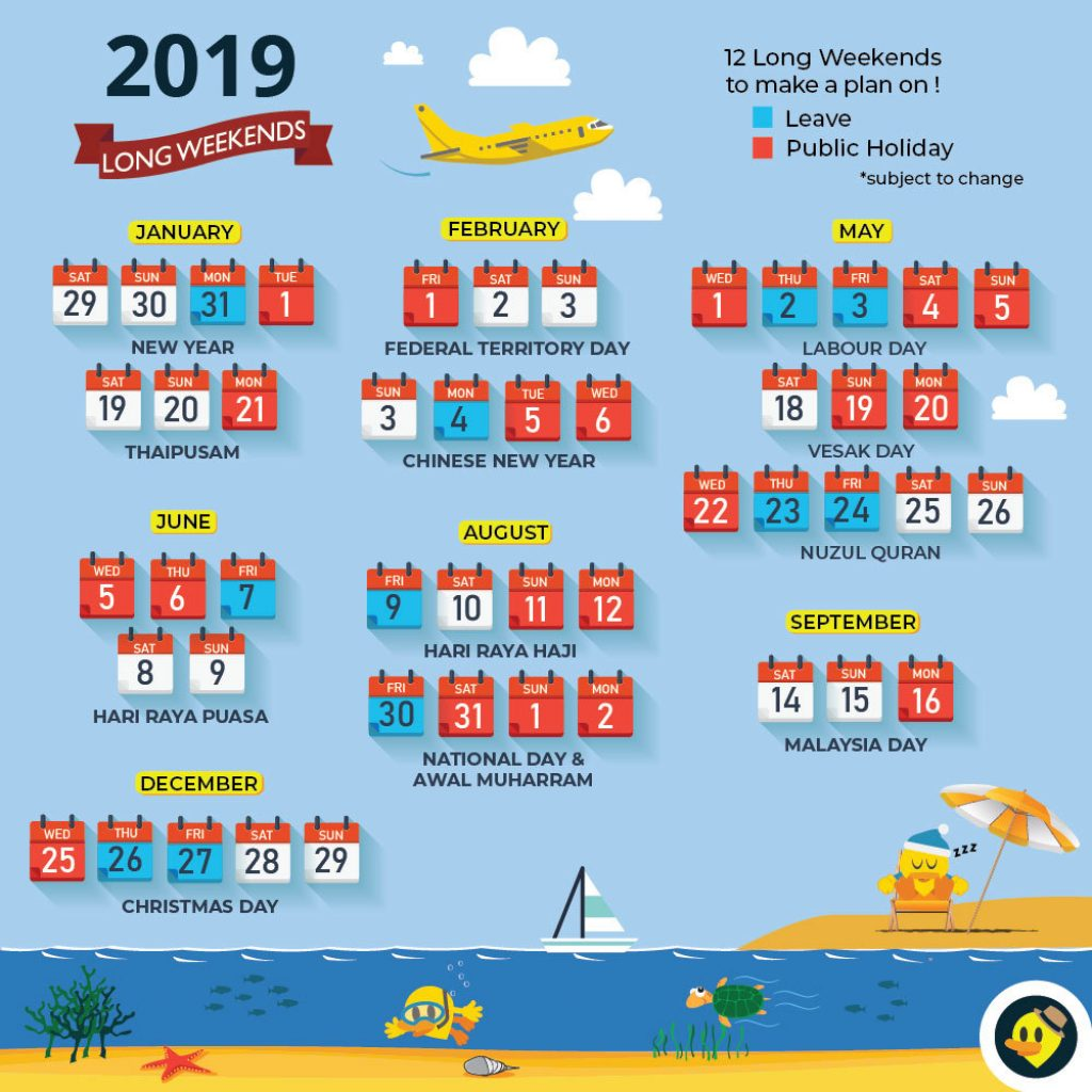Chinese New Year 2019 Calendar With Updated School Holiday 12 Long Weekends For Malaysia In