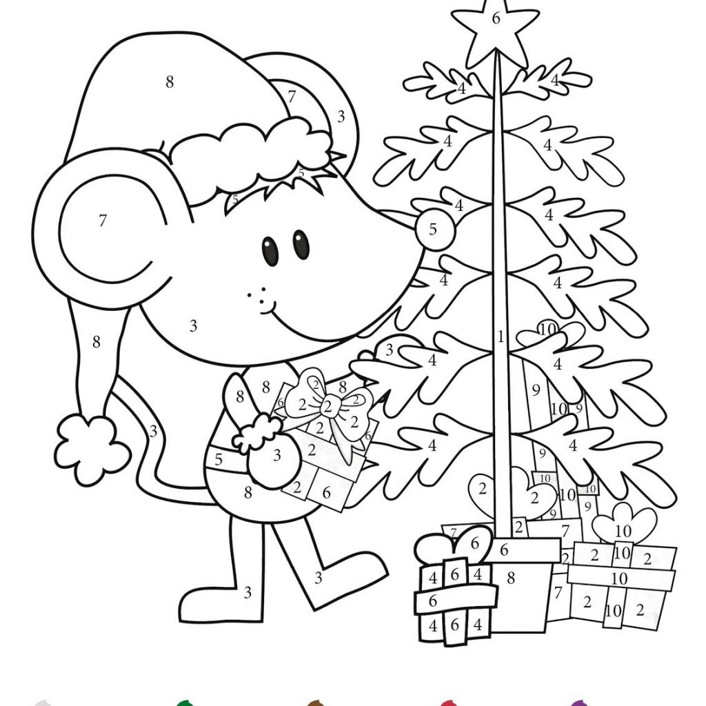 Christmas Addition Coloring Worksheets With CHRISTMAS Color By Numbers Printables Math